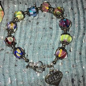 Jewelry - 💜multicolor glass bead friend toggle bracelet💜